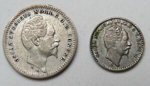 Schweden-Oscar-25-Ore-1856-10-Ore-1855-Silber