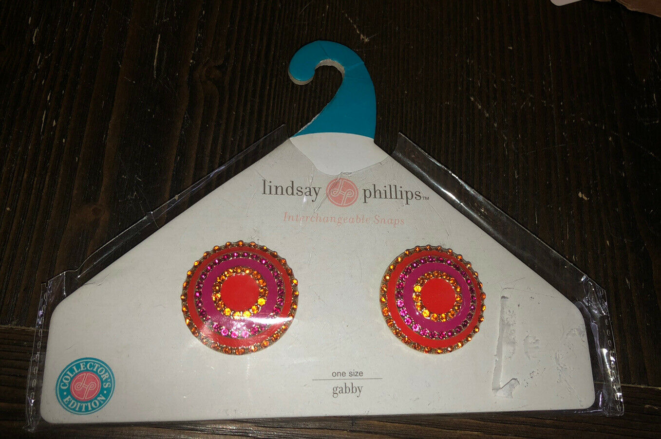 Lindsay Phillips GABBY Interchangeable Shoe Snaps Pink Orange Round Rhinestones