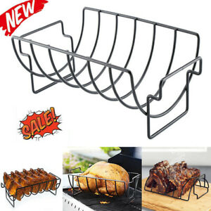 Rib-Rack-Stand-Non-Stick-Outdoor-Grilling-BBQ-Chicken-Beef-Ribs-Steel