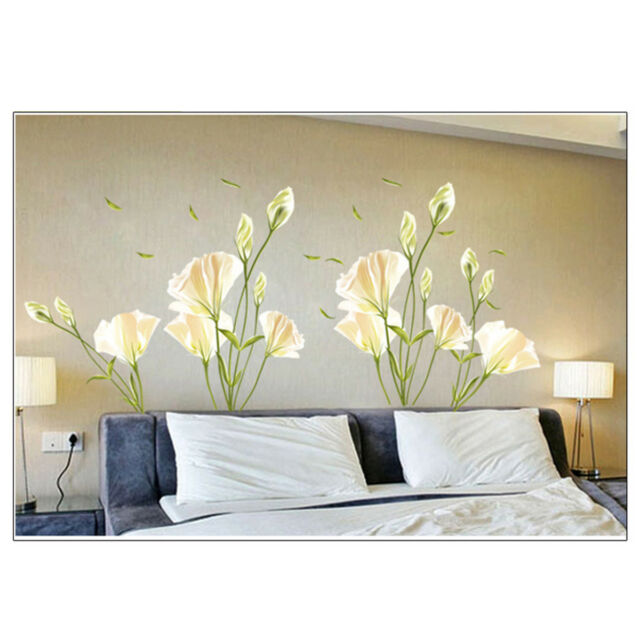 DIY Removable Decal PVC Lily Flower House Wall Sticker Living Room Fresh Decor