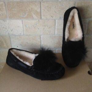 837a3d52daf Details about UGG Dakota Pom Pom Black Sheepskin Suede Moccasin Slippers  Size US 10 Womens NIB
