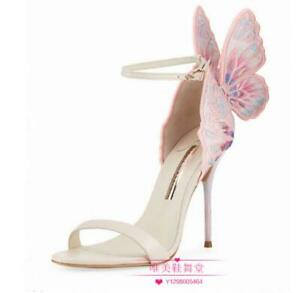 990fc2859d22 Image is loading Women-Designer-High-Heels-Butterfly-Wing-Sandals-Ankle-