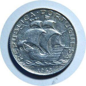 PORTUGAL-2-1-2-ESCUDOS-1943-SILVER-COIN-AU-UNC-C11
