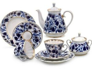 Image is loading Russian-Imperial -Lomonosov-Porcelain-Tea-Service-Set-Bluebells-  sc 1 st  eBay & Russian Imperial Lomonosov Porcelain Tea Service Set Bluebells 6/14 ...