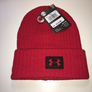 NEW Under Armour Boys Red Truck Stop Beanie Knit Hat. One Size ... ee5d4b75225b