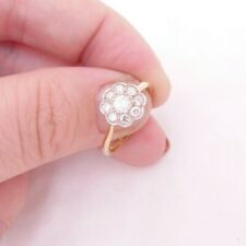 18ct gold 1/2ct diamond ring, daisy cluster art deco B BROTHERS