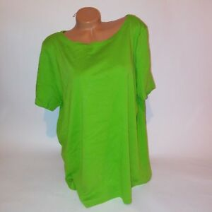 Jones-New-York-Womens-Tunic-Blouse-3X-Solid-Green-Short-Sleeve-Scoop-Neck-T-Shir