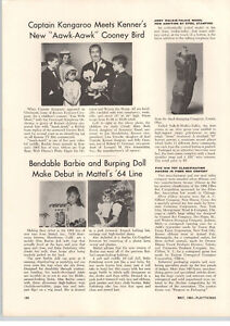 1964-PAPER-AD-Mattel-Bendable-Barbie-Doll-Intro-Burping-Dolls-Article-Aawk-Aawk