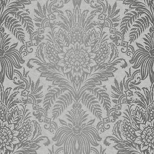 Couronne-Signature-Papier-Peint-Damas-Francais-Gris-M1067-Argent