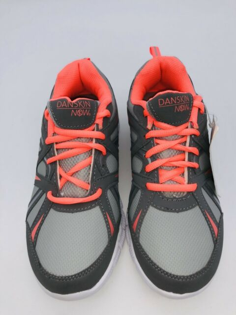 "/""FREE SHIPPING/""-YOUTH GIRLS SIZE 1,2,3,4,5,6 GRAY//ORANGE ATHLETIC SHOES DANSKIN"