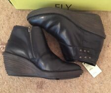 PR OF NEW FLY LONDON SADE ANKLE  BOOTS WEDGE BLACK LEATHER  SIZE 40 SIDE ZIP