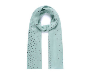Ladies Women/'s Narrow Green Foil Sparkly Hearts Scarf Mother/'s Day Gift Scarves