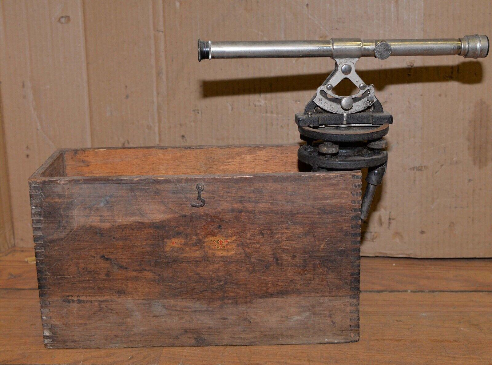 Antique Starrett transit lens original wood box collectible surveyors tool