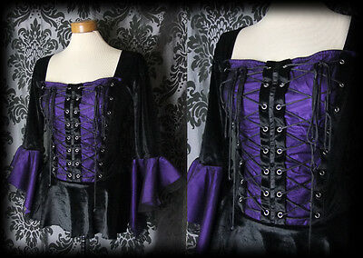 Goth Black Velvet Purple Lace Up SINISTER Wide Sleeve Corset Top 10 12 Victorian