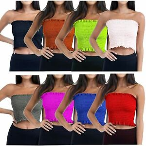 New Womens Strapless Sheering Ruched Bandeau Boob Tube Smoken Bra Crop Size 8-14