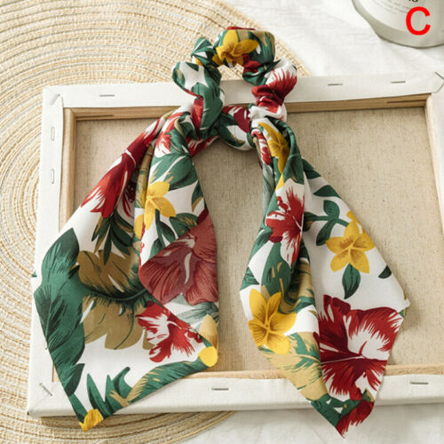 DIY Bow Streamers Elastic Hair Scrunchie Knotted Ribbon Ponytail Scarf-Hair-Ties