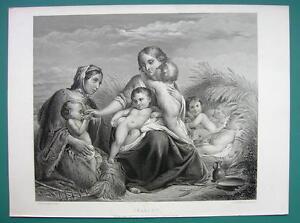 CHARITY-Destitude-Mother-Babies-SUPERB-1850s-Antique-Print