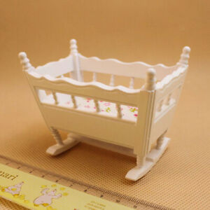 Sn-1-12-Casa-de-Munecas-Miniatura-Madera-Cuna-Bebe-Cuna-Modelo-Muebles