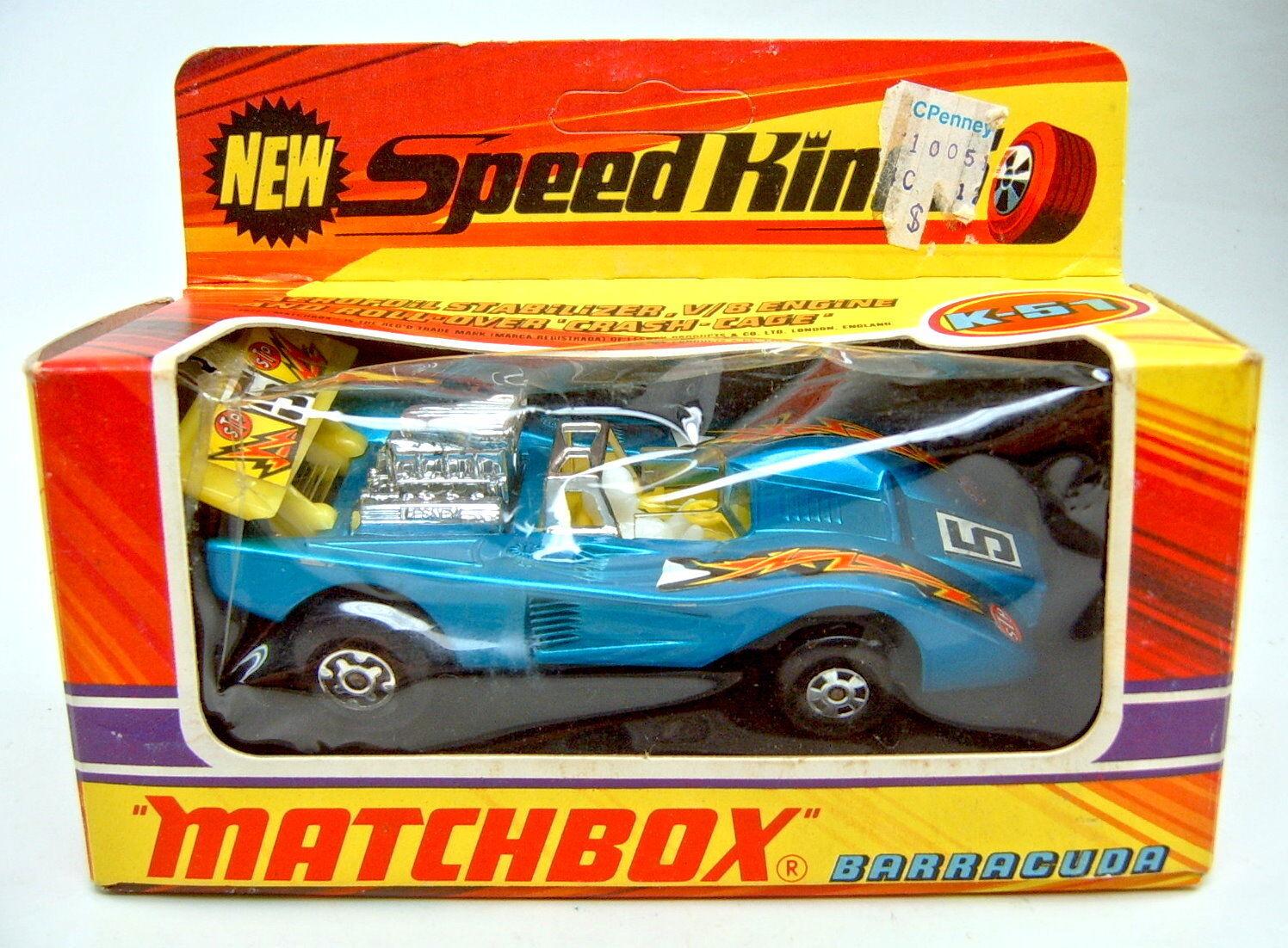 Matchbox superking K -51 Barracuda met. blu giallo alerón en Box
