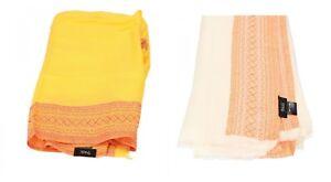 NALì accessori donna sciarpa stola foulard cotone Giallo Bianco/Arancione