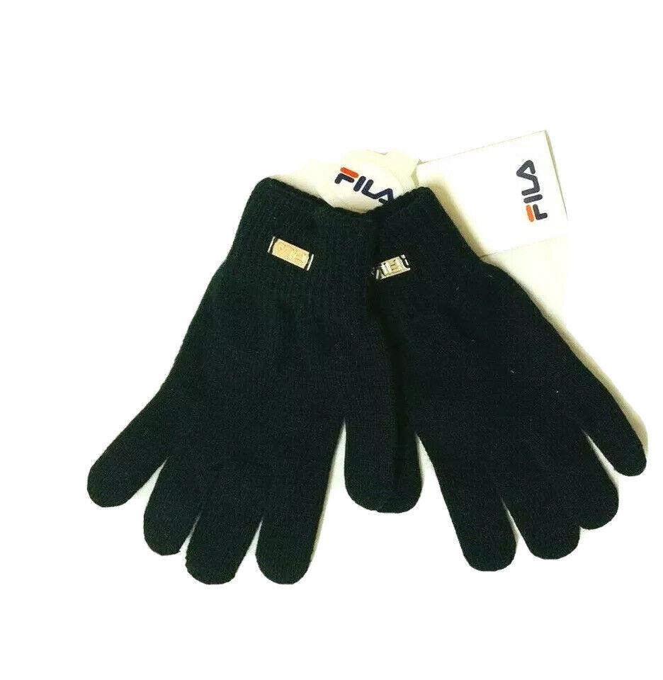 FILA Romario Knitted Gloves Black Unisex Size. M