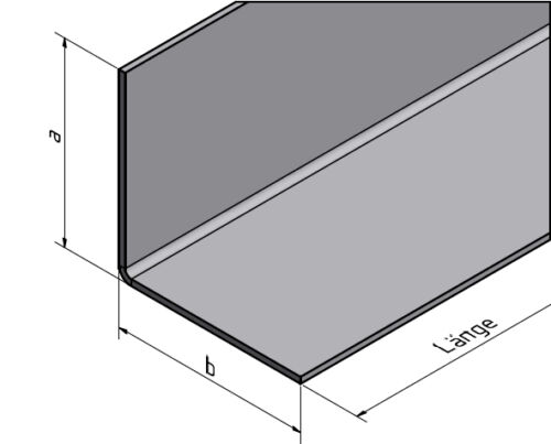 32 Sonder Edelstahlwinkel UNgleichschenkelig 1mm axb 33x10mm L380mm AUSSEN K320