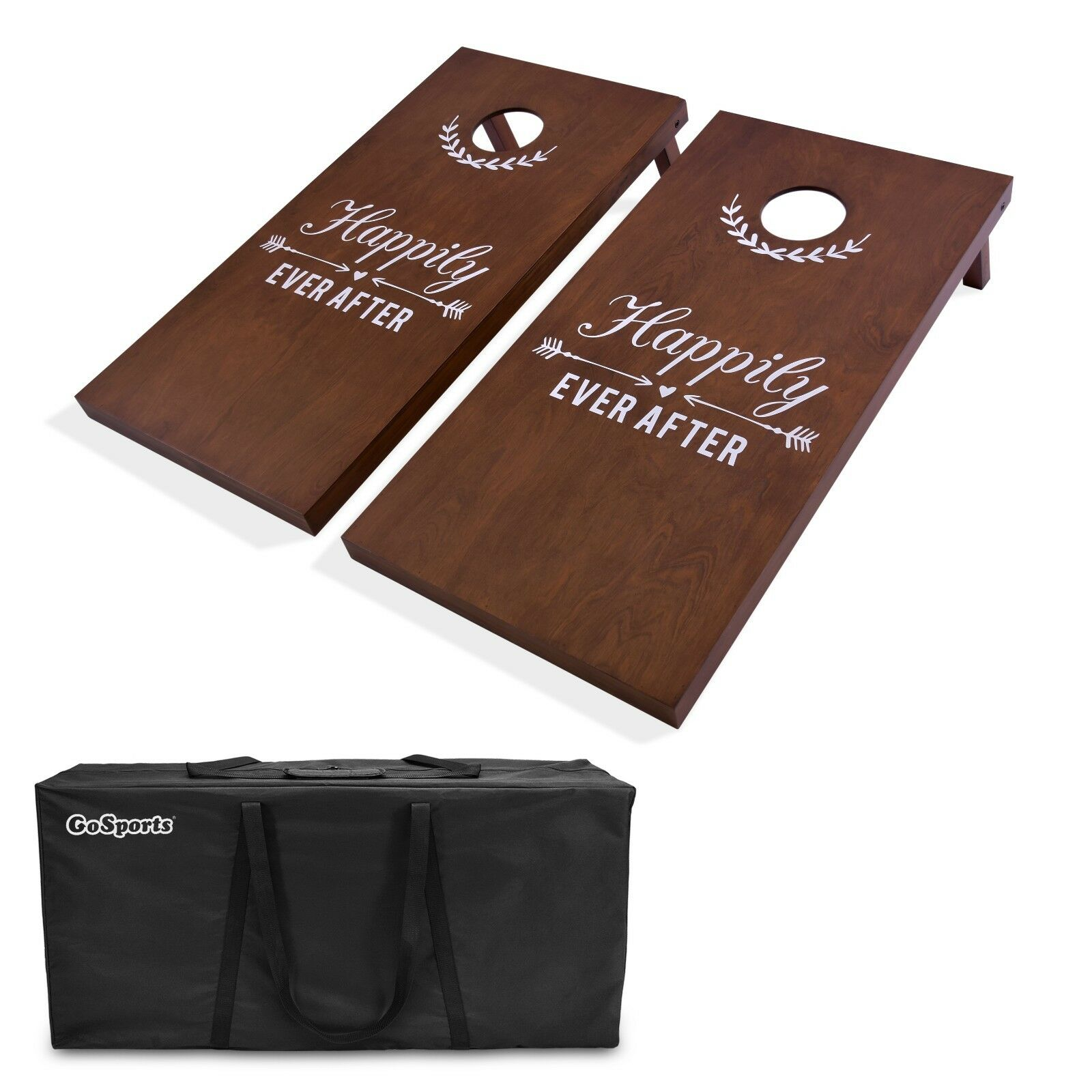 Gosports Wedding Couple Cornhole Set   Regulation 4'x2' with Solid Stained Wood