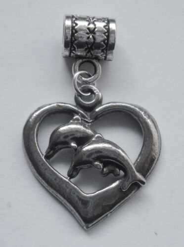 PEWTER CHARM suit European Bracelet #237 DOLPHINS in HEART 21mm x 22mm
