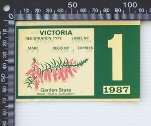 VINTAGE 1987 RTA VICTORIA CAR TRAILER REGISTRATION WINDSCREEN STICKER DECAL