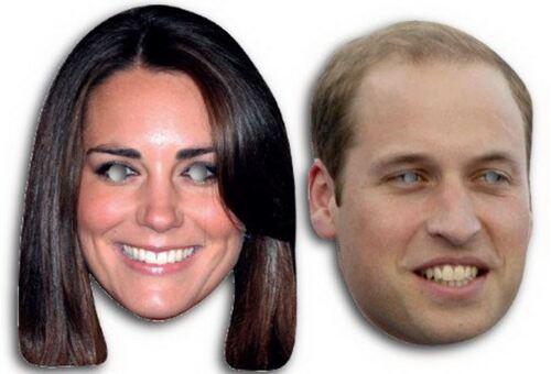 William Kate Royal Celebrità Faccia Maschere Fancy Royal Celebrazioni Festa Matrimonio