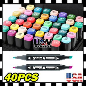40-Colors-Dual-Tips-Sketch-Twin-Marker-Permanent-Pens-W-Carrying-Case-Painting-U