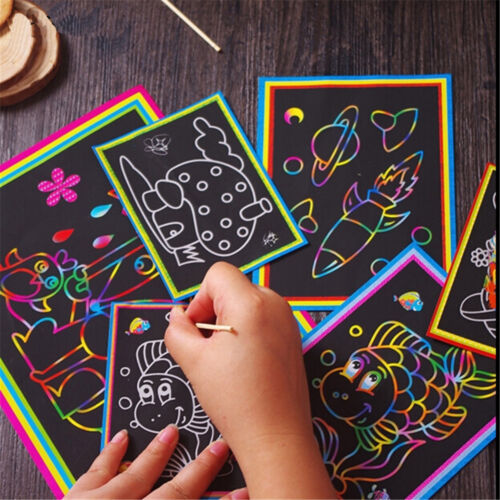 1//5//10pcs Scratch Art Paper Coloring Cards Scraping Drawing Toys for kids 2019.