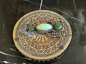 Antique Chinese Silver Turquoise Cabochon Jeweled Mirror