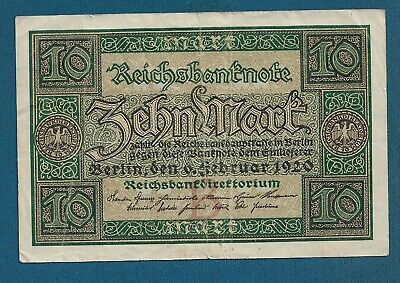 1920 Germany Weimar Republic 10 Mark Banknote UNCIRCULATED Consecutive No