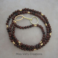 Brown Mahogany Obsidian Gold Lanyard Badge Key Holder Handcrafted Beaded