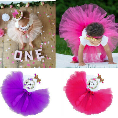 Girl/'s First 1st Birthday Outfit Tutu Dress Skirt Bow Cake Smash Headband Pink