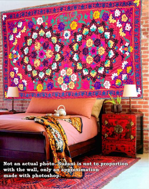 Suzani, handmade silk embroidery, uzbek suzani, upholstery, wall decor, vintage