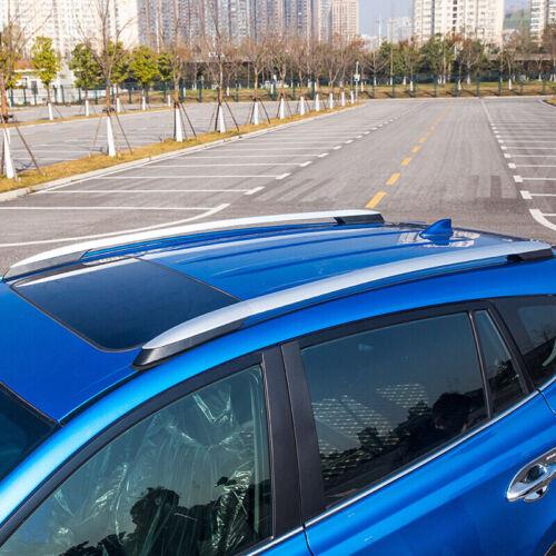 Silver Roof Rails Rack End Cover Shell 4pcs For Toyota RAV4 XA40 2013-2017