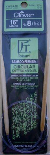 "Your Choice Size NEW 16 /"" CIRCULAR KNITTING NEEDLES Bamboo CLOVER Takumi"