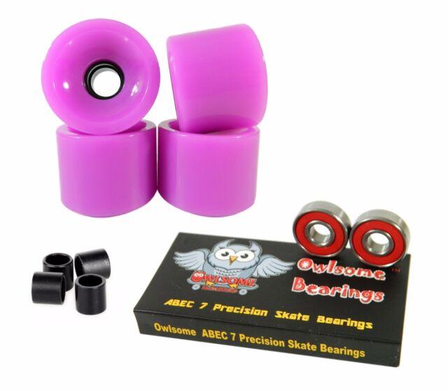 Owlsome Precison ABEC 7 Bearings Blank 70mm 82a Neon Purple Longboard Wheels
