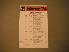 1974 Vintage Johnson Snowmobile Dealer Price List