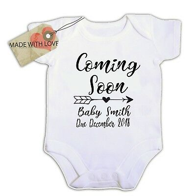 personalised coming soon baby your name date year  BABY VEST BOY//GIRL BODYSUIT