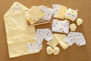 21pcs/Set yellow cotton Newborn Baby Clothes sets Girls Boys Outfits Gift bag