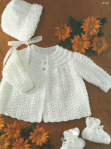 Baby-Matinee-Coat-Bonnet-Bootees-Knitting-Pattern18-19-034-Double-Knitting-384DK