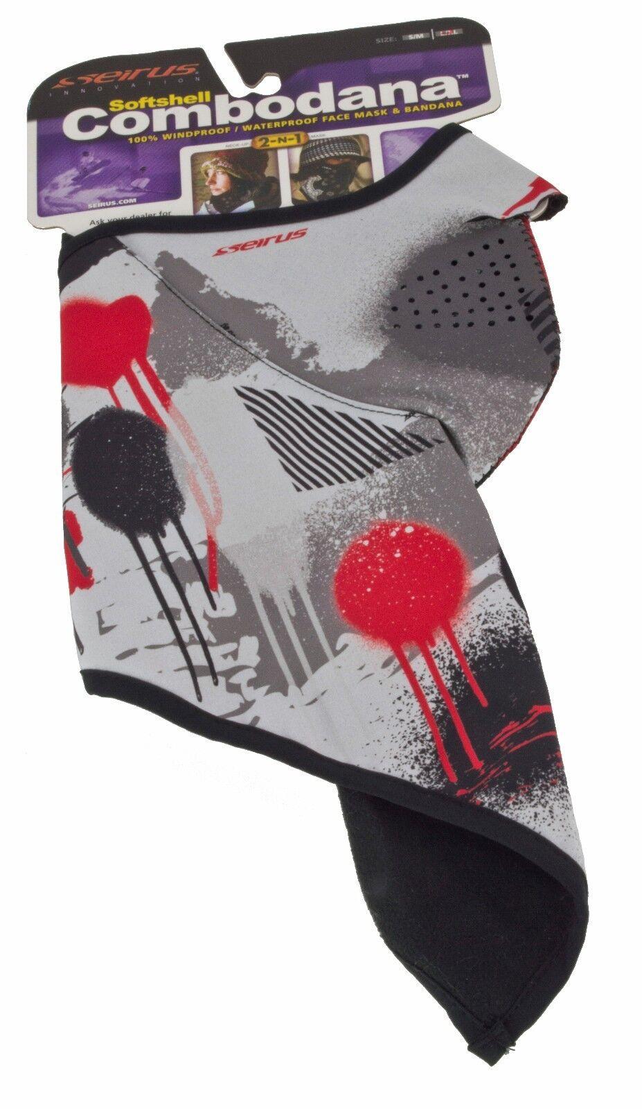 Seirus Softshell Combodana 2-in-1 Waterproof SkiMask//Bandana Vertigo UnisexLG-XL