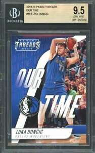 Luka-Doncic-Rookie-Card-2018-19-Panini-Threads-Our-Time-15-Mavericks-BGS-9-5
