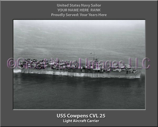 USS Cowpens CVL 25 Personalized Canvas Ship Photo Print Navy Veteran Gift