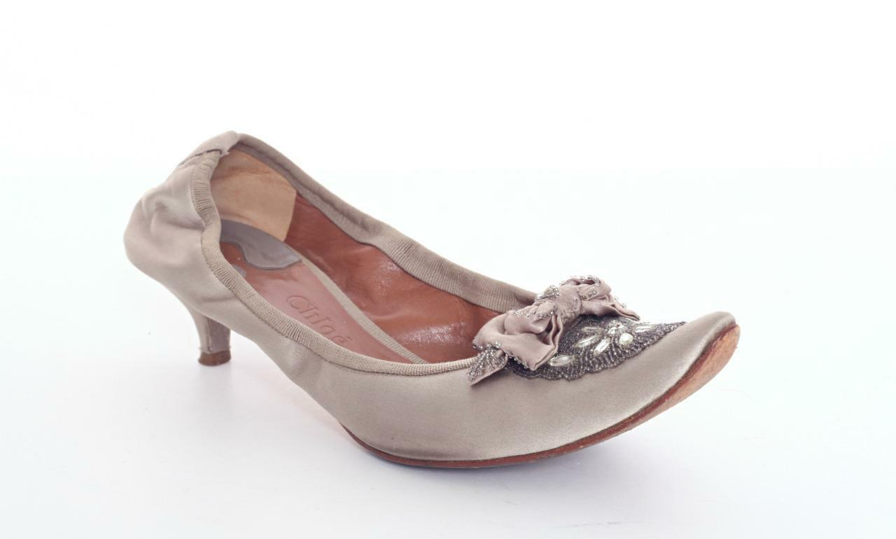CHLOE Taupe Taupe Taupe Satin Medium Heel Crystal Beaded Sandal Pump Ballet shoes 9.5-39.5 a3935a