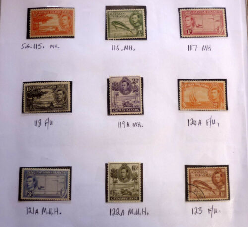 LOT OF 9 OLD CAYMAN ISLANDS STAMPS, KGVI SG115123, MOSTLY MINT & USED