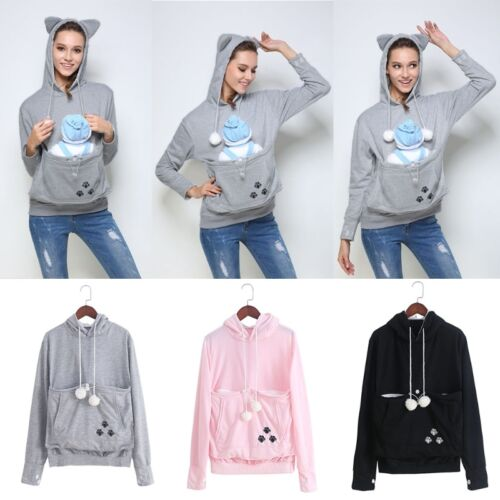 Cuddle Hooded Pouch Pocket Casual Pullover Sweatshirt Unisex  Cat Claw Hoodies